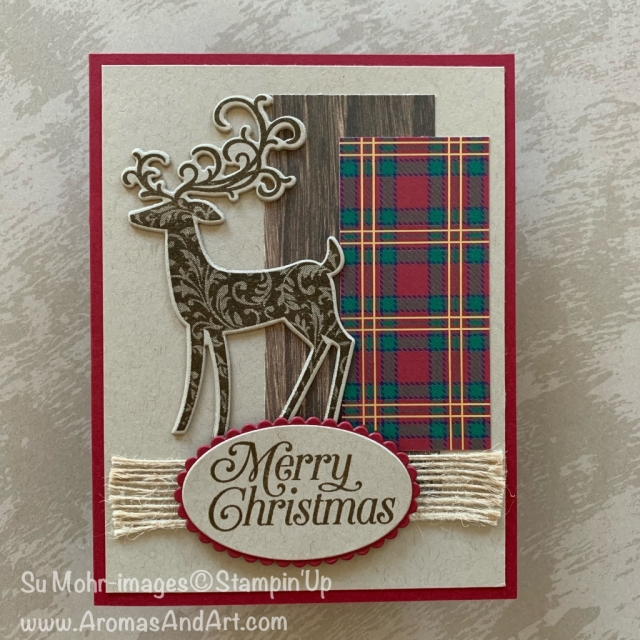 By Su Mohr for FMS; Click READ or VISIT to go to my blog for details! Featuring: Detailed Deer dies, Dashing Deer stamp set, Wrapped in Plaid DSP, Burlap Ribbon, Perfectly Plaid stamp set; #christmascards #holidaycards #holiday2019 #reindeer #reindeeroncards #perfectlyplaid #wrappedinplaid #dashingdeer #detaileddeer #handmadecards #cardmaking #diy #handcrafted