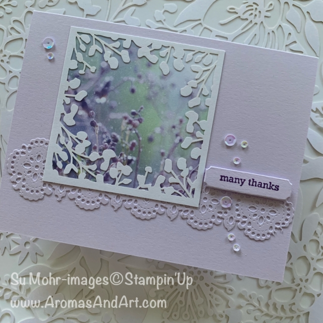 By Su Mohr for cts; Click READ or VISIT to go to my blog for details! Featuring: Feels Like Frost DSP, Shimmer Laser-Cut Paper, Stitched Lace Dies, Woven Threads Sequins; #thankyoucards #handmadecards #handcrafted #diy #cardmaking #feelslikefrost #stitchedlacedies #ittybittygreetings #holiday2019