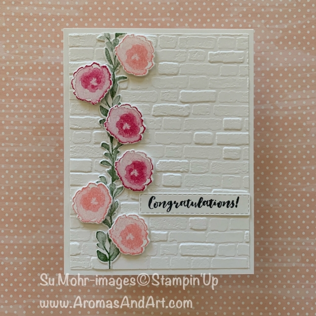 By Su Mohr for Fusion; Featuring: First Frost stamp set, Frosted Bouquet dies, Brick & Mortar embossing; #congratulationscards #celebrationcards #handmadecards #handcrafted #diy #bricks #brickwall #flowersoncards #floralwall #cardmaking #firstfrost #frostedbouquet