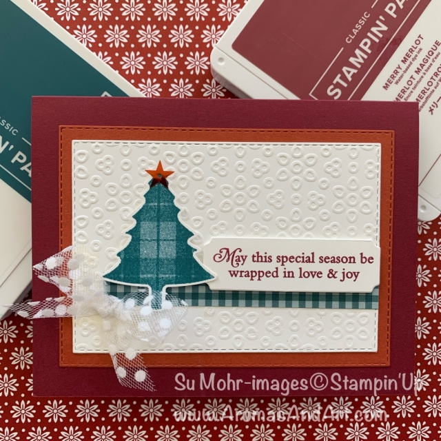 By Su Mohr for Fab Fri; Click READ or VISIT to go to my blog for details! Featuring: Perfectly Plaid stamp set, Pine Tree Punch, Stitched Rectangles Dies, Eyelet Lace embossing, Polka Dot Tulle Ribbon; #christmascards #holidaycards #handmadecards #handcrafted #diy #cardmaking #eyeletlace #perfectlyplaid #trees #christmastrees #cardchallenges #cardsketches