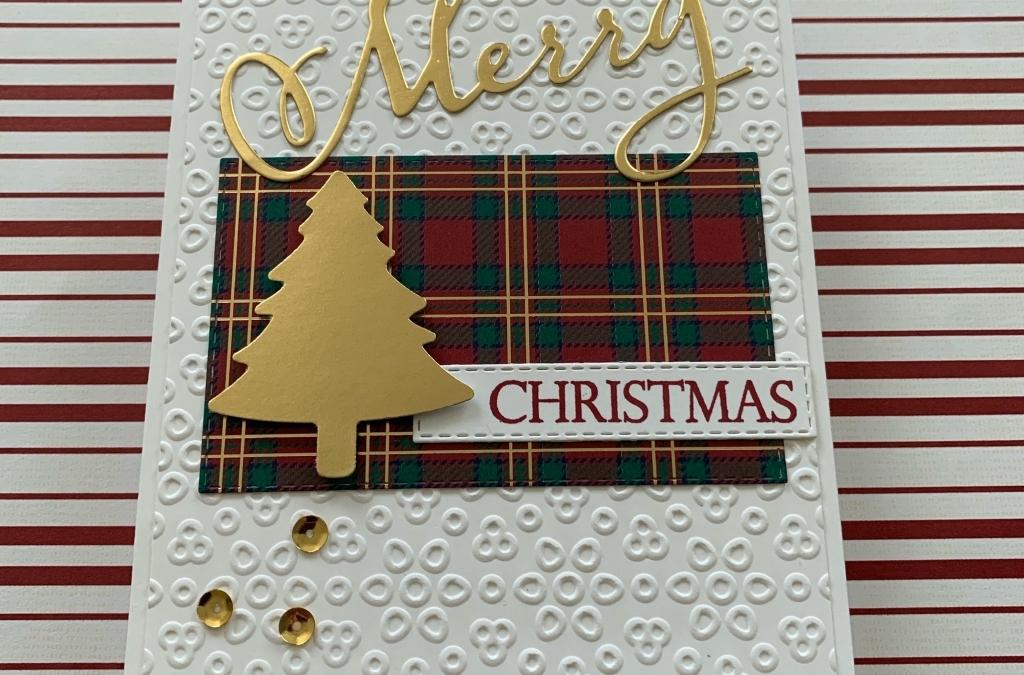 Gold Foil Plus Plaid = Merry Christmas Card
