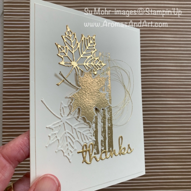 By Su Mohr for TGIF; Click READ or VISIT to go to my blog for details! Featuring: Colorful Seasons stamp set, Seasonal Layers dies, Well Written dies, Gold Foil, Gold Embossing Powder, Gold metallic Thread; #thanksgivingcards #thankyoucards #goldfoil #goldembossing #heatembossing #leaves #leavesoncards #natureoncards #handmadecards #handcrafted #diy #cardmaking #holiday2019