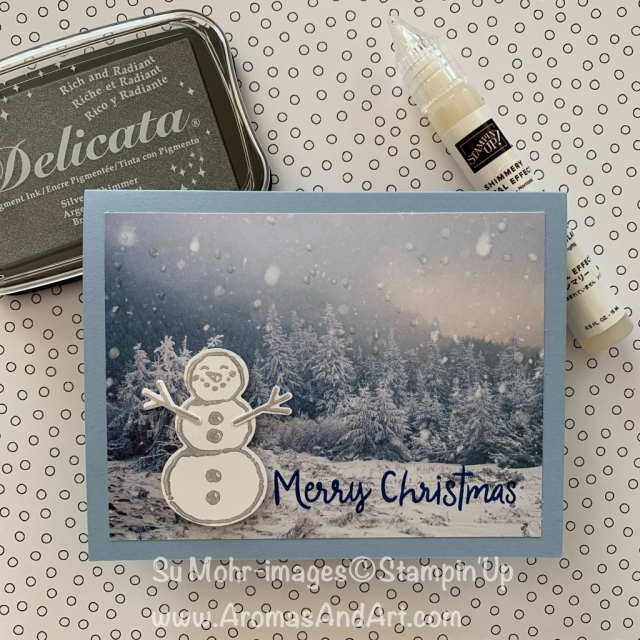 By Su Mohr for CAS(E) this sketch; Click READ or VISIT to go to my blog for details! Featuring: Snowman Season Bundle, Delicata Shimmer Ink, feels Like Frost DSP, snowman punch;