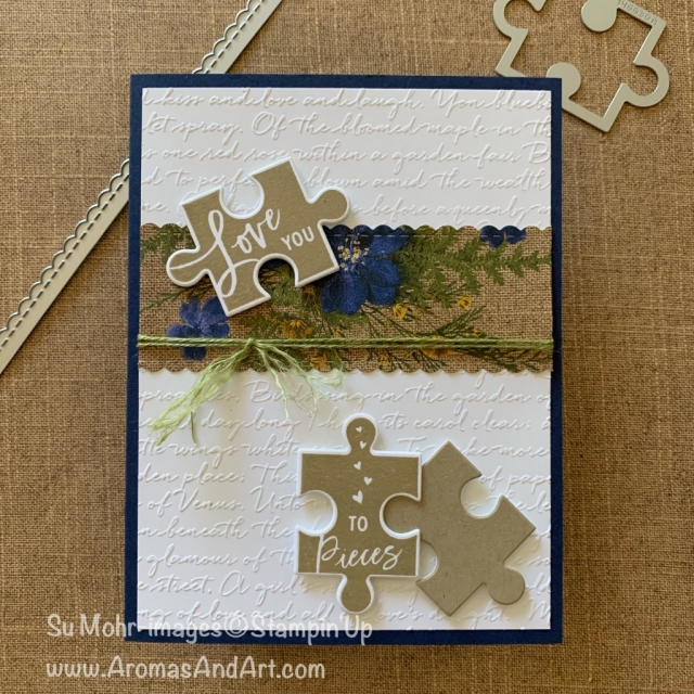 By Su Mohr for FMS; Click READ or VISIT to go to my blog for details! Featuring: Love You To Pieces Stamp Set, Puzzle Pieces Die Set, Be Mine Stitched Dies, Scripty 3D embossing, Pressed Petals DSP; #loveyoutopieces #puzzlepieces #jigsawpuzzles #Scriptoncards #scripty #handmadecards #masculinecards #cardsforguys #handcrafted #diy #cardmaking