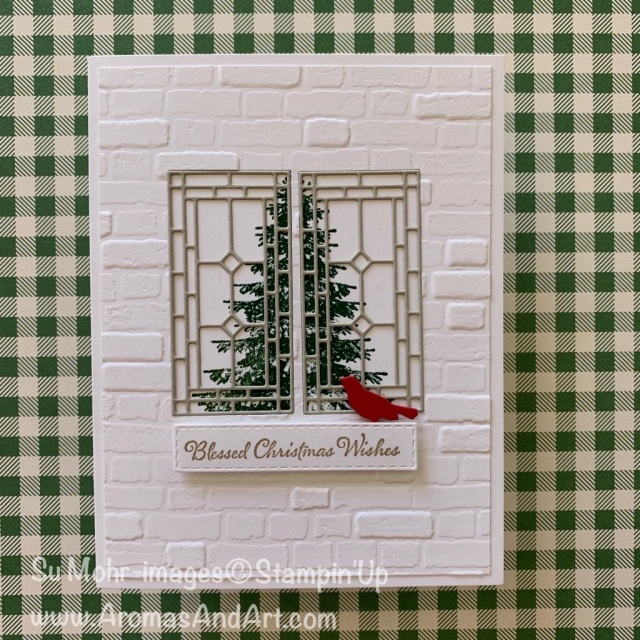 By Su Mohr for cts; Click READ or VISIT to go to my blog for details! Featuring: Stained Glass Dies, Winter Woods Stamp Set, Brick & Mortar embossing, Itty Bitty Christmas Stamp Set, Botanical Tags Dies, Rectangle Stitched Dies; #christmascards #holidaycards #windows #windowsoncards #stainedglass #stainedglasswindows #leadedglasswindows #handmadecards #handcrafted #diy #cardmaking #stampinup #holiday2019