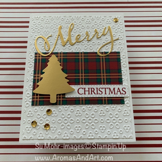 By Su Mohr for Paper Players Design Team; Click READ or VISIT to go to my blog for details! Featuring: Gold Foil, Eyelet lace embossing, Merry Christmas To All stamp set, Wrapped in Plaid DSP, Merry Christmas Dies; #christmascards #holidaycards #cardswithfoil #eyeletlace #pinetreepunch #christmastrees #plaid #handmadecards #holiday2019