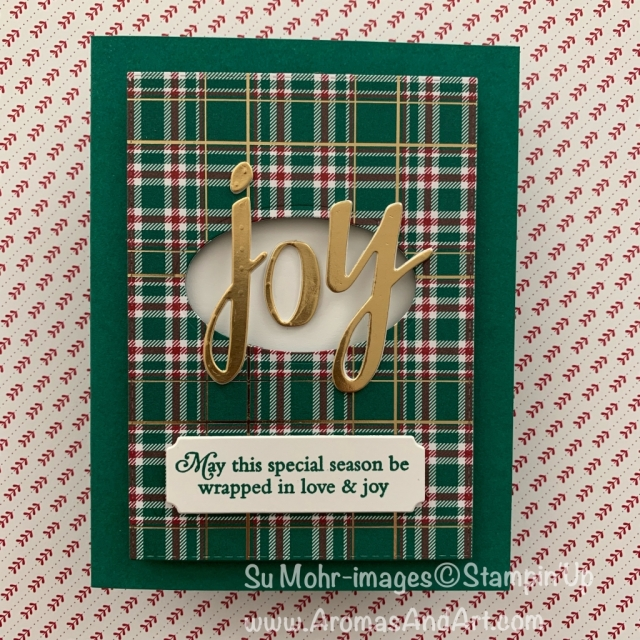By Su Mohr for FMS and cts; Click READ or VISIT to go to my blog for details! Featuring: Perfectly Plaid stamp set; Wrapped in Plaid DSP, Gold Foil, Hand-Lettered Prose Dies, Adhesive Foam Strips; #christmascards #holidaycards #wrappedinplaid #perfectlyplaid #plaid #handmadecards #handcrafted #diy #cardmaking #lettersoncards