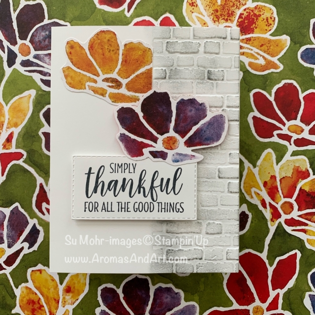 By Su Mohr for the Paper Players; Click READ or VISIT to go to my blog for details! Featuring: Brick & Mortar embossing, See A Silhouette DSP, Country Home Stamp Set, Rectangle Stitched Dies; #thanksgivingcards #seeasilhouette #countryhome #bricks #bricksoncards #flowers #flowersoncards #fallcolors #colorchallenges #handmadecards #handcrafted #diy #cardmaking