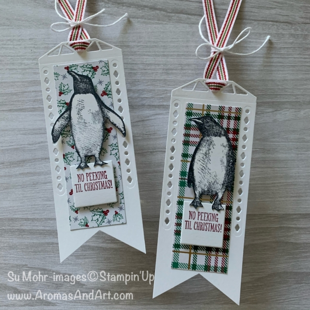 By Su Mohr for TGIF; Click READ or VISIT to go to my blog for details! Featuring: Playful Penguins Stamp Set, Beautiful Layers Dies, Wrapped In Plaid DSP, Banner Triple Punch, Itty Bitty Christmas Stamp Set; #gifttags #christmastags #tags #handmade #handcrafted #diy #penguins #penguinsoncards #playfulpenguins #nopeeking #cardchallenges