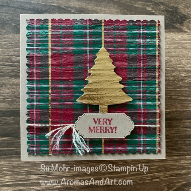 By Su Mohr for FMS; Click READ or VISIT to go to my blog for details! Featuring: Wrapped In Plaid DSP, Subtle Textured embossing, Gold Foil, Pine Tree Punch, Ornate Frames, Itty Bitty Christmas; #wrappedinplaid #pinetreepunch #beminestitcheddies #subtletexturedembossing #ornateframes #christmascards #hoilidaycards #squarecards #cardshapes #handmadecards #handcrafted #diy #cardmaking #christmastrees #treesoncards