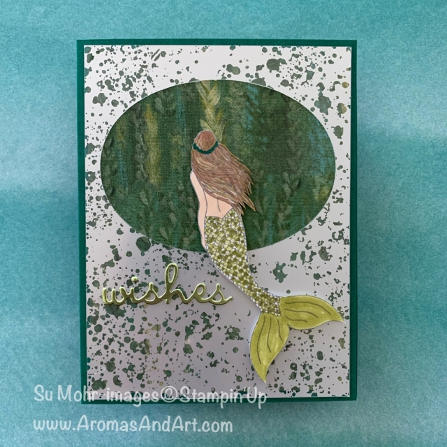 By Su Mohr for Fusion; Click EAD or VISIT to go to my blog for details! Featuring: Magical Mermaid Stamp Set, Perennial Essence DSP, Mercury Glass Paper, Layering Ovals Dies, Well Written Dies, Stampin' Blends Markers; #birthdaycards #mermaids #magicalmermaid #mermaidsoncards #perennialessence #stampinblends #alcoholmarkers #wellwritten #hamndmadecards #handcrafted #diy