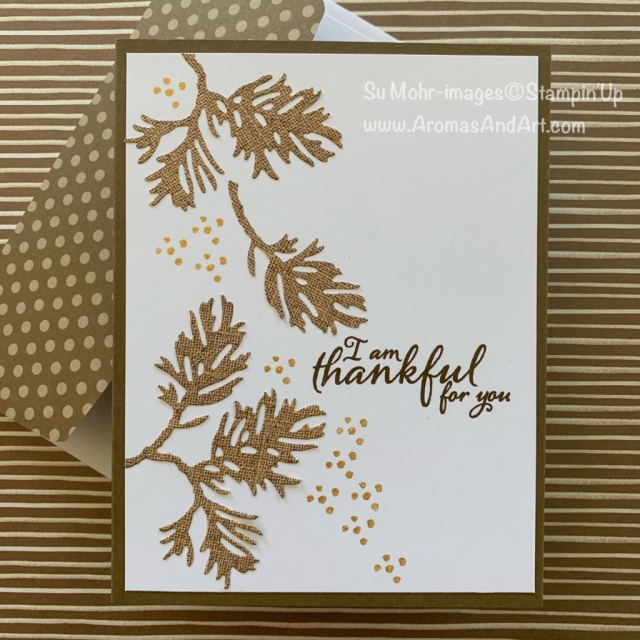 By Su Mohr for the Paper Players Design Team and FMS; Click READ or VISIT to go to my blog for details! Featuring: Beautiful Boughs Dies, Pressed Petals DSP, Painted Harvest Stamp Set, Golden Glitz Delicata Ink; #thanksgivingcards #cardsofthanks #thankfulforyou #paintedharvest #beautifulboughs #delicataink #goldink #pressedpetals #handmadecards #handcrafted #diy #cardmaking