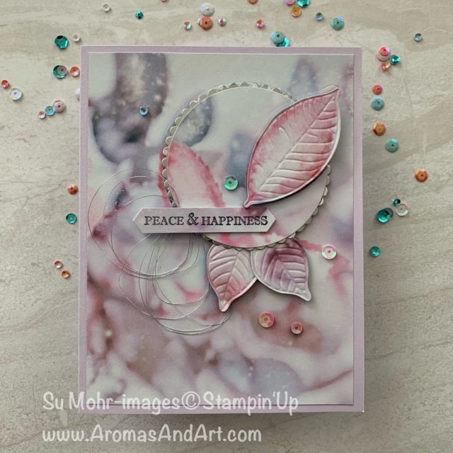 By Su Mohr for Fab Friday; Click READ or VISIT to go to my blog for details! Featuring: Feels Like Frost DSP, Layering Circles Dies, Nature's Roots Dies, Itty Bitty Christmas Stamp Set, Silver Metallic Thread, Woven Threads Sequins; #christmascards #holidaycards #feelslikefrost #naturesroots #leaves #leavesoncards #handmadecards #handcrafted #diy #cardmaking #cardtechniques #cardinstructions #dimensiononcards