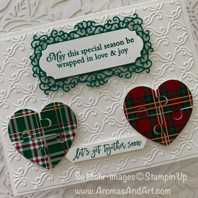 By Su Mohr; Click READ or VISIT to go to my blog for details! Featuring: Love You To Pieces Stamp Set, Puzzle Pieces dies, Wrapped In Plaid Designer Paper, Perfectly Plaid Stamp Set, Ornate Frames Dies, Stylish Scroll embossing; #christmascards #holidaycards #Holiday2109 #handmadecards #handcrafted #diy #cardmaking #plaidoncards #puzzlepieces #jigsawpuzzles #heartsoncards #friendshipcards #ornateframes #wrappedinplaid #perfectlyplaid