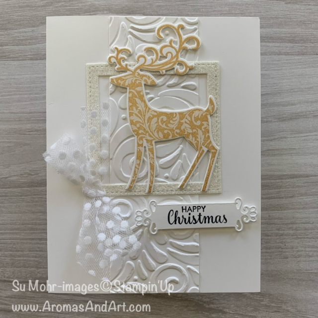 By Su Mohr for cts; Click READ or VISIT to go to my blog for details! Featuring: Dashing Deer Stamp Set, Detailed Deer Dies, Delicata Ink, Ornate Frames Dies, Polka Dot Tulle Ribbon; #goldandwhitecards #dashingdeer #detaileddeer #reindeer #reindeeroncards #cardchallenges #cardsketches #christmascards #holidaycards #holiday2019 #handmadecards #handcrafted #diy #cardmaking