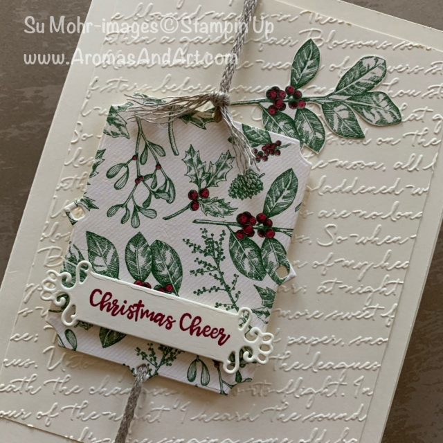 By Su Mohr for GDP; Click READ or Visit to go to my blog for details! Featuring: Toile Tidings DSP, Braided Linen Trim, Beautiful Boughs Dies, Scripty embossing, Ornate Frames Dies, Itty bitty Christmas Stamp Set; #christmascards #toiletidings #beautifulboughs #holly #berries #cardchallenges #cardsketches #handmadecards #handcrafted #diy #cardmaking #holiday2019 #holidaycards