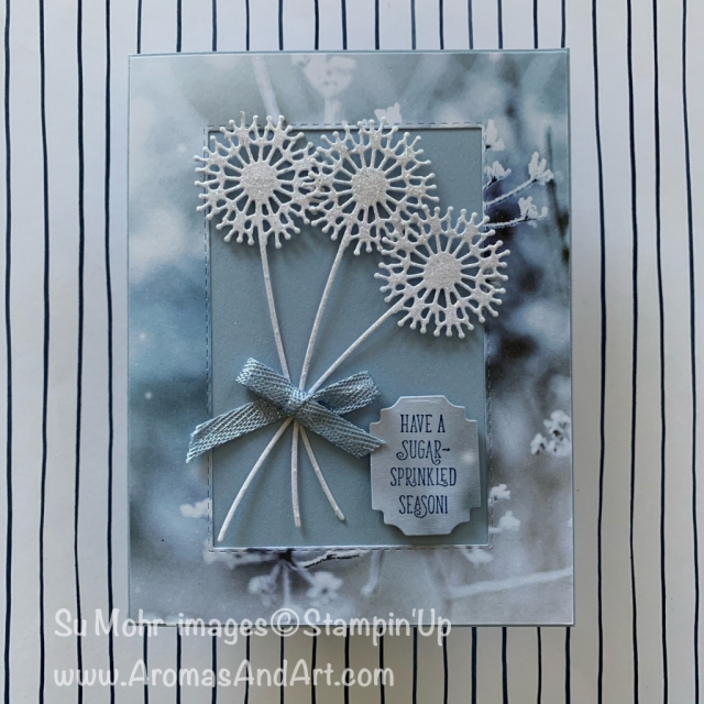 By Su Mohr for Paper Players Design Team; Click READ or Visit to go to my blog for details! Featuring: Feels Like Frost DSP, Sparkle Glimmer Paper, Sweet Silhouettes Dies, Ornate Frames Dies, Itty Bitty Christmas Stamp Set, Stitched Rectangles Dies; #christmascards #holidaycards #northpole #sugar-sprinkled #bouquets #cardchallenges #handmadecards #handcrafted #diy #cardmaking #feelslikefrost #stampinup #holiday2019