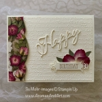 By Su Mohr for TGIF; Click Read or Visit to go to my blog for details! Featuring: Pressed Petals DSP, Pressed Petals Washi Tape, Merry Christmas Dies, Well Said Stamp Set, Magnolia memory Dies, Scripty embossing, Ornate Frames Dies; #birthdaycards #floralcards #cardswithflowers #pressedpetals #handmadecards #handcrafted #stationary #diy #cardmaking #letterwriting #cardsketches #cardchallenges #stampinup