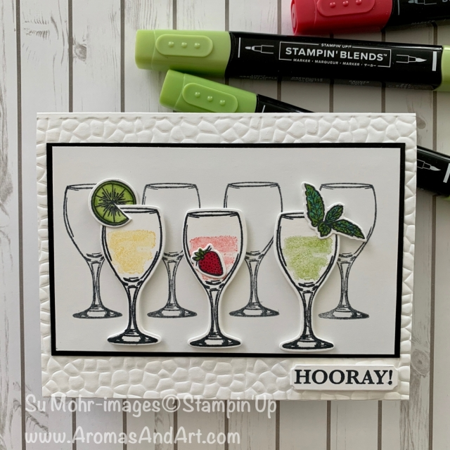 By Su Mohr for GDP; Click READ or VISIT to go to my blog for details! Featuring: Sip Sip Hooray Stamp Set, Sip & Celebrate Dies, Hammered Metal embossing; #celebrationcards #sipsiphooray #cardswithdrinks #drinks #wineglasses #glasses #handmadecards #handcrafted #diy #cardmaking #stampinup #2019catalog #cardsketches #cardchallenges