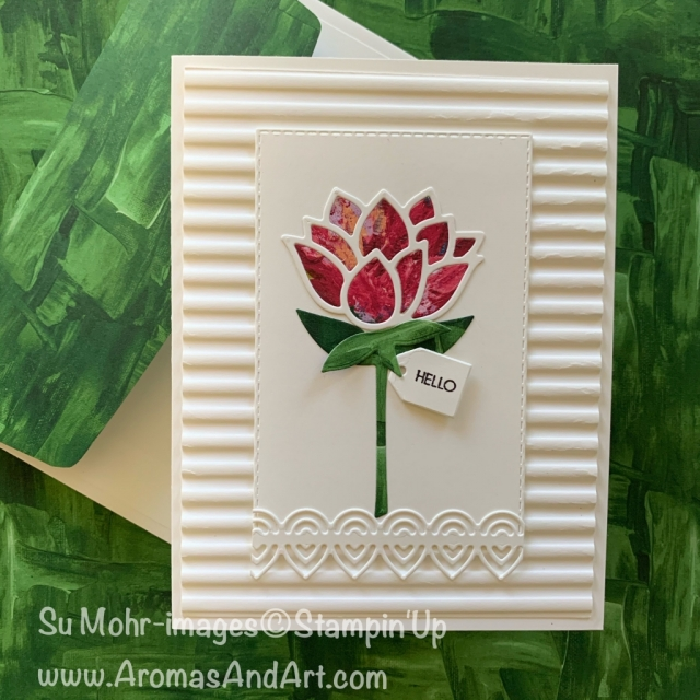By Su Mohr; Click READ or VISIT to go to my blog for details! Featuring: Lily Pad Dies, Lily Impressions DSP, Corrugated embossing, Take Your Pick tool, Beautiful Bouquet Stamp Set, Bouquet Bunch Dies; #lilypads #lilies #lilyimpressions # takeyourpick #lilypadsoncards #saleabration #2020minicatalog #handmadecards #handcrafted #cardmaking #diy #friendshipcards