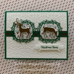 By Su Mohr for GDP; Click READ or VISIT to go to my blog for details! Featuring: Detailed Deer Dies, Dashing deer Stamp Set, Wrapped IN Plaid DSP, Eyelet Lace embossing, Ornate Frames Dies, Itty bitty Christmas Stamp set; #christmascards #holidaycards #detaileddeer #dashingdeer #deer #deeroncards #handmadecards #handcrafted #diy #cardmaking #stampinup