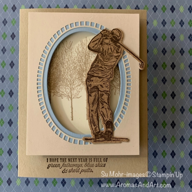 By Su Mohr for Paper Players Design Team; Click READ or VISIT to go to my blog for details! Featuring: Clubhouse Stamp Set, Golf Club Dies, Shimmer Detailed Laser-Cut DSP, Pressed Petals DSP, Foam Adhesive Strips, Layering Ovals Dies; #golf #golfclub #clubhouse #shimmerlaser-cutpaper #pressedpetals #2020minicatalog #2020stampinup #stampinup #golfoncards #handmadecards #handcrafted #diy #cardmaking