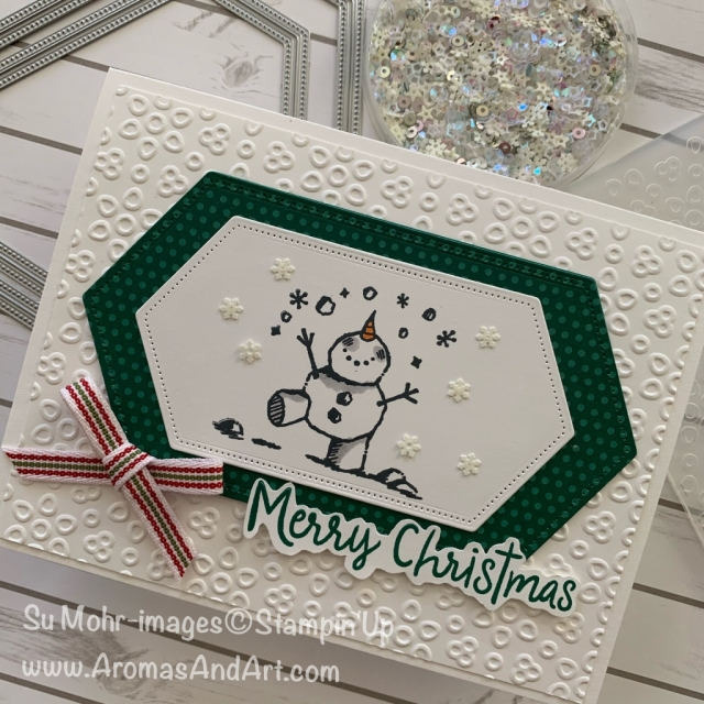 By Su Mohr for the Paper Players Design Team; Click READ or VISIT to go to my blog for details! Featuring: Snowman Season Stamp Set, Wrapped In Plaid DSP, Stitched Nested Labels Dies, Eyelet Lace embossingSnowflake Sequins; #christmascards #holidaycards #handmadecards #handcrafted #diy #cardmaking #snowmanseason #eyeletlace Snowmenoncards #snowman