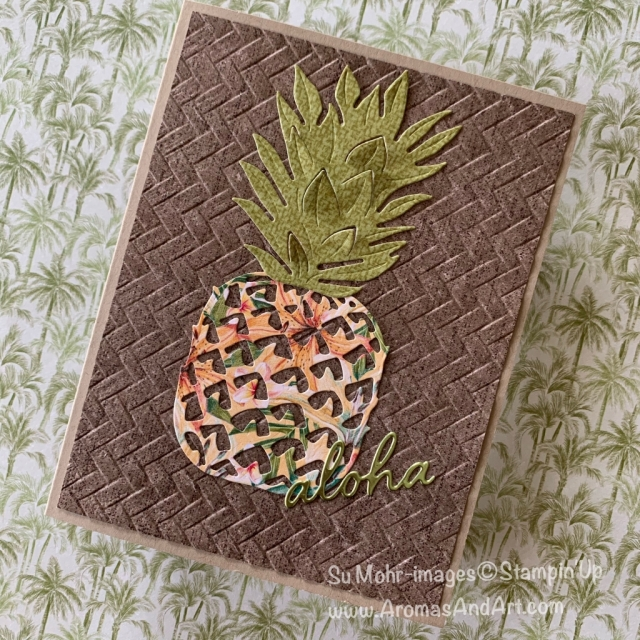 By Su Mohr; Click READ or VISIT to go to my blog for details! Featuring: Tropical Oasis Designer Paper, In The Tropics Dies, Coastal Weave embossing; #tropicaloasis #inthetropics #coastalweave #pineapples #pineapplesoncards #tropicalcards #handmadecards #handcrafted #diy #cardmaking #2020minicatalog