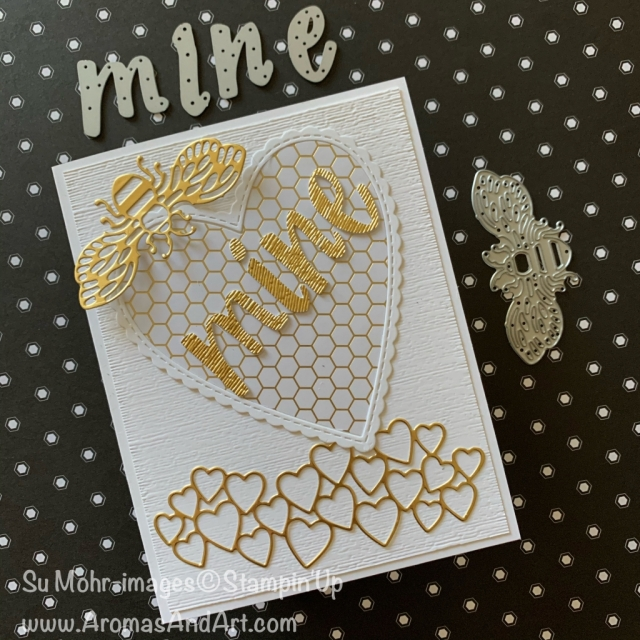 By Su Mohr for GDP; Click READ or VISIT to go to my blog for details! Featuring: Golden Honey DSP, Detailed Bee Dies, Hand-Lettered Prose Dies, Subtle Textured embossing, Gold Foil; #valentines #valentinecards #bees #beesoncards #honeybees #hearts #heartsoncards #bemine #beemine #handmadecards #handcrafted #diy #cardmaking