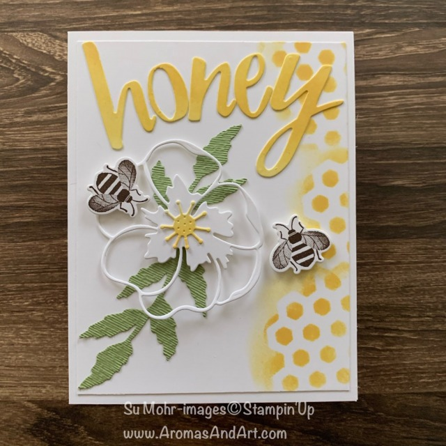 By Su Mohr for FMS; Click READ or VISIT to go to my blog for details! Featuring: Honey Bee Bundle, Honey Bee Stamp Set, Detailed Bee Dies, Poppy Moments Dies, Hand-Lettered Prose Dies; #honeybees #honeybee #bees #honeycomb #poppymoments #poppies #poppiesoncards #2020minicatalog #handmadecards #handcrafted #cardmaking #diy