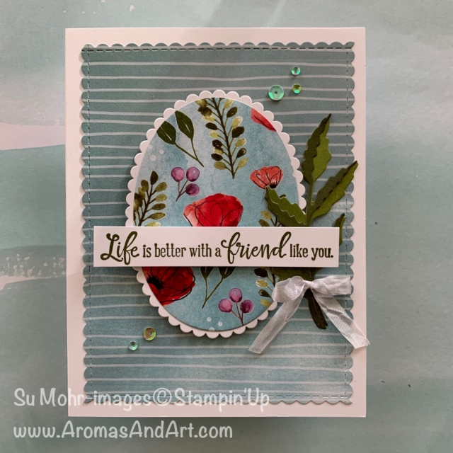 By Su Mohr for its; Click READ or VISIT to go to my blog for details! Featuring: Peaceful Poppies, Poppy Moments Peaceful Moments, Layering Ovals, Crinkled Ribbon; #poppies #peacefullpoppies #peacefulmoments #friendshipcards #birthdaycards #2020minicatalog #2020stampinup #saleabration #handmadecards #diy #handcrafted #cardmaking