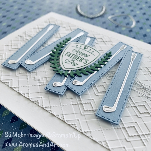 By Su Mohr for TGIF; Click READ or VISIT to go to my blog for details! Featuring: Clubhouse Bundle, Clubhouse Stamp Set, Golf Club Dies, Argyle embossing, Stitched Rectangles Dies; #fathersdaycards #masculinecards #golf #golfclubs #clubhouse #argyle #handmadecards #handcrafted #diy #cardmaking #cardsketches #cardchallenges