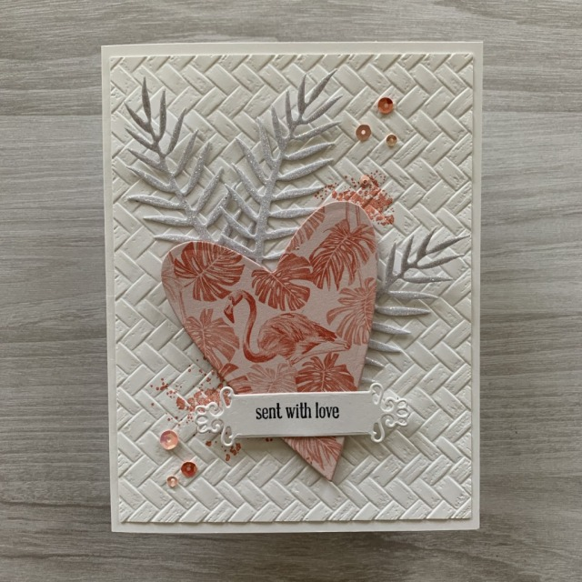By Su Mohr for tgif; Click READ or VISIT to go to my blog for details! Featuring: Coastal Weave embossing, Sparkle Glimmer Paper, Tropical Does, Tropical Oasis DSP, Ornate Frames Dies, Itty Bitty Greetings Stamp Set, Be mine Stitched Dies; #valentines #valentinecards #tropicalcards #handmadecards #handcrafted #diy #cardmaking #paintedpoppies #tropicaldies #cardchallenges #cardthemes