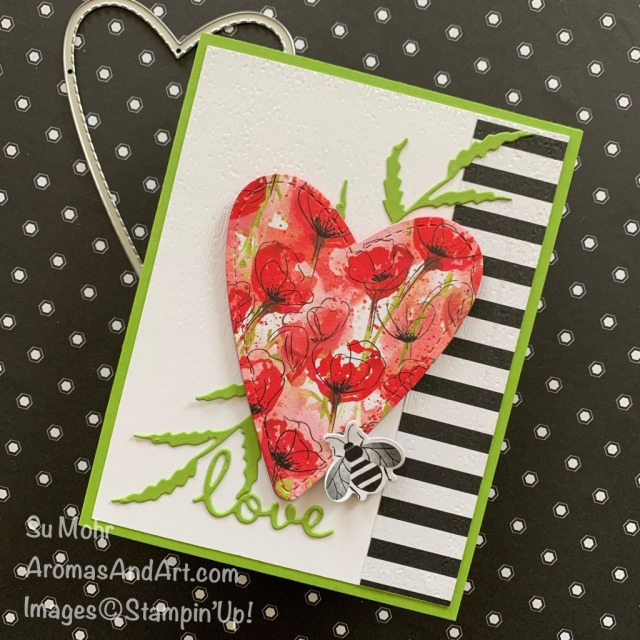 By Su Mohr for the Pals Blog Hop; Click READ or VISIT to go to my blog for details! Featuring: Be Mine Stitched Dies, Well Written Dies, Detailed Bee Dies, Poppy Moments Dies, Peaceful Poppies DSP, Golden Honey DSP; #valentines #valentinecards #poppies #peacefulpoppies #poppymoments #poppiesoncards #heartsoncards #bees #beesoncards #handmadecards #handcrafted #diy #cardmaking