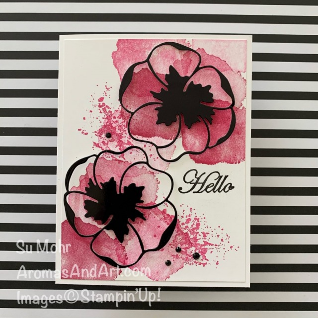 By Su Mohr for Paper Players; Click READ or VIISIT to go to my blog for details! Featuring: Painted Poppies Stamp Set, Poppy Moments Dies, Black Foil Sheets, Good Morning Magnolia; #friendshipcards #hellocards #paintedpoppies #poppymoments #heatembossing #poppiesoncards #flowersoncards #colorcombinations #colorchallemnges #handmadecards #handcrafted #diy #cardmaking