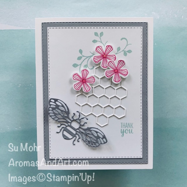 By Su Mohr for TGIF; Click READ or VISIT to go to my blog for details! Featuring: Thoughtful Blooms, Small Bloom Punch, Detailed Bee Dies, Stitched Rectangles Dies; #thoughtfulblooms #smallbloompunch #detailedbeedies #thankyoucards #beesoncards #bees #flowersoncards #cardchallenges #colorcombos #handmadecards #handcrafted #diy #cardmaking