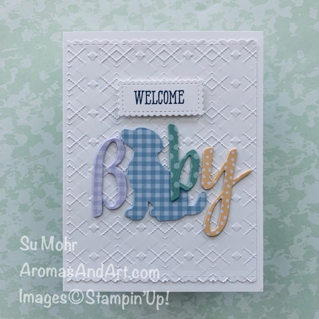 By Su Mohr; Click READ or VISIT to go to my blog for details! Featuring: Hand-Lettered Prose Dies, Dog Punch, Well Said Stamp Set, Stitched So Sweetly Dies, Argyle embossing; #dogpunch #babycards #handletteredprosedies #wellsaid #stitchedsosweetly #welcomebaby #dogsoncards #puppies #handmadecards #handcrafted #cardmaking #diy