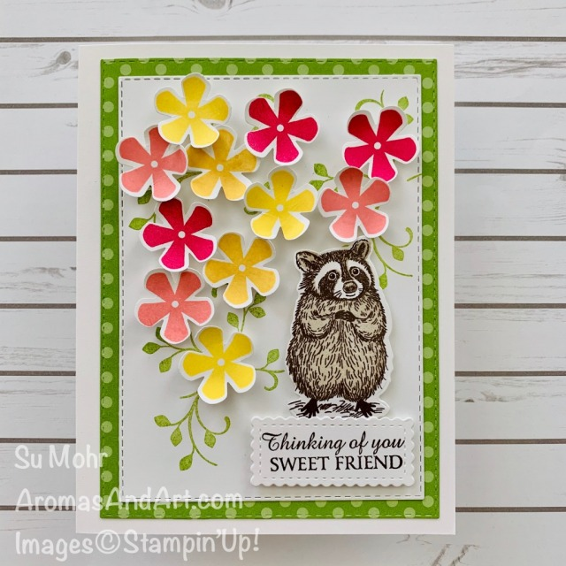 By Su Mohr for PP; Click READ or VISDIT to go to my blog for details! Featuring: Someoneone Special Stamp Set, Special Day Dies, Thoughtful Blooms Stamp Set, Small Blooms Punch, Honey Bee Stamp Set, Stitched So Sweetly Dies; #specialsomeone #specialday #raccoons #raccoonsoncards #flowersoncards #friendshipcards #smallbloompunch #2020minicatalog #stampinup #handmadecards #handcrafted #diy #cardmaking