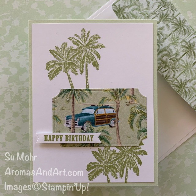 By Su Mohr for TGIF and Seize the B'day; Click READ or VISIT to go to my blog for details! Featuring: Tropical Oasis DSP, Timeless Tropical Stamp Set, Painted Labels Dies, Geared Up Garage, Clubhouse Stamp Set, Golf Club Dies; #masculinebirthdaycards #birthdaycards #woody #cards #tropicalcards #beach #stampinup #handmadecards #handcrafted #diy #cardmaking