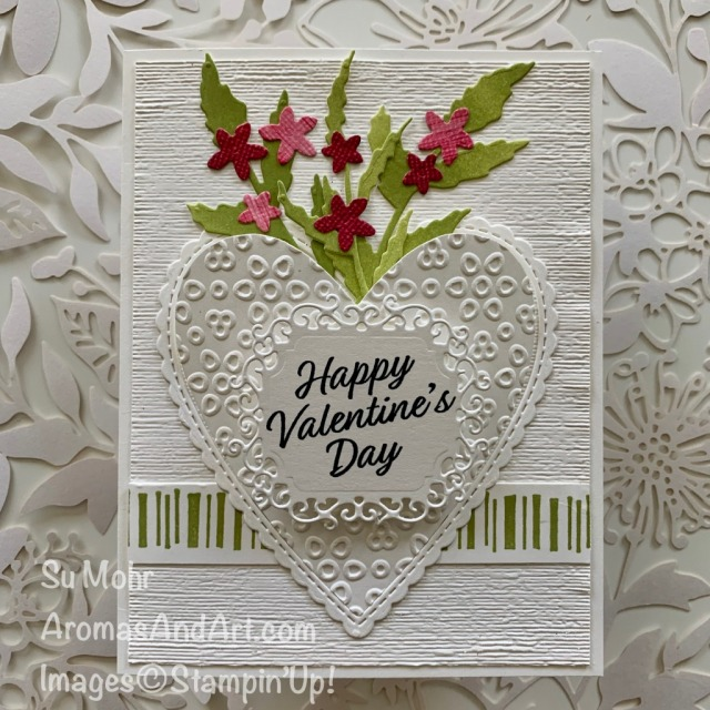 By Su Mohr for Kre8tors; Click READ or VISIT to go to my blog for details! Featuring: Eyelet Lace embossing, Ornate Frames Dies, Meant To Be Stamp Set, Be Mine Stitched Dies, Poppy Moments Dies, Special Day Dies, Lily Impressions DSP; #valentines #valentinecards #handmadecards #handcrafted #diy #cardmaking #heartpocket #bouquet #paperbouquet #valentinestampsets #heartsoncards #romanceandlove