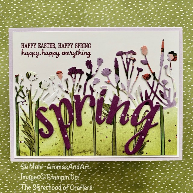 By Su Mohr for Sisterhood of Crafters Design Team; Click READ or VISIT to go to my blog for details! Featuring: Hand-Lettered Prose Dies, Peaceful Poppies DSP, Friendly Silhouettes Dies, Timeless Tulips Stamp Set; #eastercards #spring #springcards #flowersoncards #handlettered #letterdies #cardthemes #peacefulpoppies #handmadecards #handcrafted #diy #cardmaking