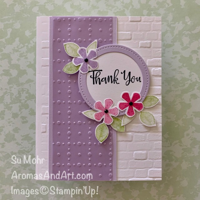 By Su Mohr for GDP; Click READ or VISIT to go to my blog for details! Featuring: So Very Vellum, Thoughtful Blooms Stamp Set, Painted harvest Stamp Set, Small Bloom Punch, Leaf Punch, Peaceful Moments Stamp Set; #thankyoucards #brickembossing #thoughtfulblooms #smallbloompunch #soveryvellum #sale-a-bration #paintedharvest #leafpunch #peacefulmoments #stitchedshapes #stampinup #handmadecards #cardmaking #diy #smallbloompunch #thoughtfulblooms #casethedesigner #cardchallenges