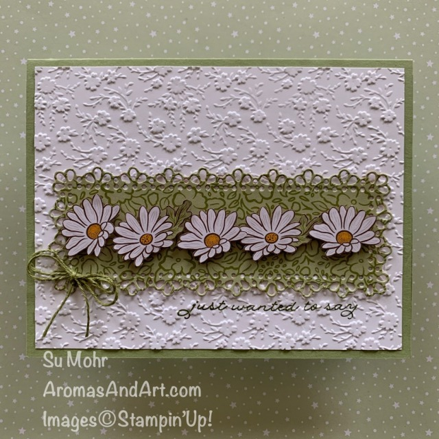 By Su Mohr for cts; Click READ or VISIT to go to my blog for details! Featuring: Ornate Garden Designer Paper, Ornate Floral embossing, Ornate Layers Dies, Ornate Thanks Stamp Set; #friendshipcards #daisies #ornategarden #ornatecardensuite #ornatethanks #floersoncards #daisiesoncards #earlyrelease #stampinup #handmadecards #handcrafted #cardmaking #diy #papercrafting
