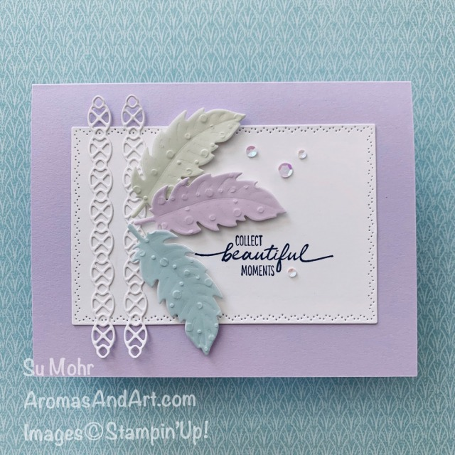 By Su Mohr for Paper Players; Click READ or VISIT to go to my blog for details! Featuring: Nature's Thoughts Dies, Beautiful Moments Stamp Set, So Very Vellum, Iridescent Sequins; #friendshipcards #naturesthoughts #soveryvellum #vellum #vellumtechniques #vellumoncards #cardsketches #cardchallenges #handmadecards #cardmaking #diy #handcrafted #papercrafting #feathers #feathersoncards