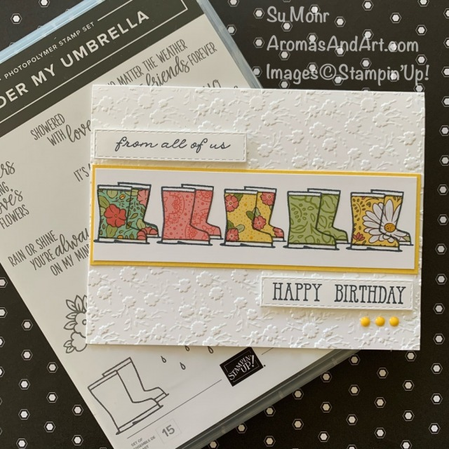 By Su Mohr for Paper Players; Click READ or VISIT to go to my blog for details! Featuring: Under My Umbrella Stamp Set, Ornate Garden DSP, Onate Floral embossing, Ornate Thanks Stamp Set, Well Said Stamp Set, Stitched Rectangles Dies; #birthdaycards #rainboots #cardsfromallofus #ornategardens #ornatethanks #stamparatus #paperpiecing #cardtechniques #undermyumbrella #handmadecards #handcrafted #diy #papercrafting #cardmaking #