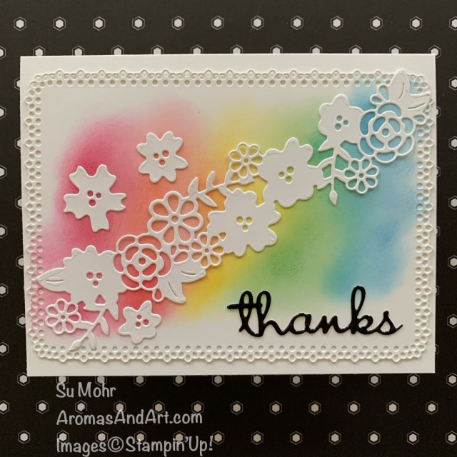 By Su Mohr for TGIF; Click READ or VISIT to go to my blog for details! Featuring: 2018-2020 In Colors, Ornate Layers Dies, Ornate Borders Dies, Well Written Dies, Sponge Daubers, Black Foil; #rainbows #rainbowsoncards #ornategarden #ornatelayers #ornateborders #wellwritten #spongedaubers #incolors #hanmadecards #handcrafted #diy #cardmaking #papercrafting #cardchallenges