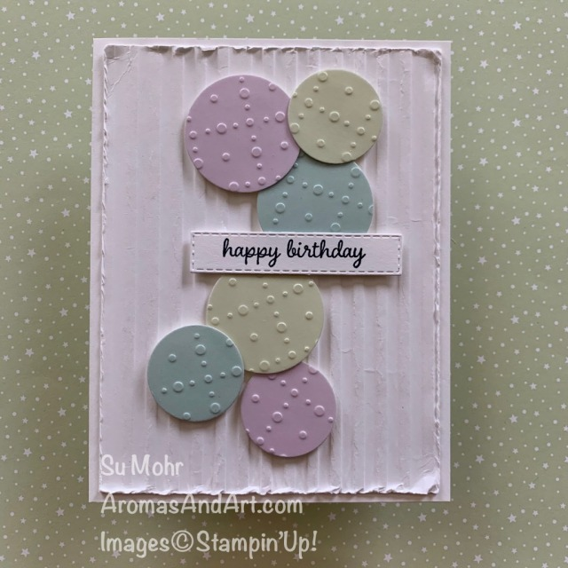 By Su Mohr for TGIG; Click READ or VISIT to go to my blog for details! Featuring: So Very Vellum DSP, Layering Circles Dies, Stitched Rectangles Dies, Timeless Tulip Stamp Set, Corrugated embossing; #birthdaycards #vellumoncards #corrugatedembossing #pastelcolors #colorcombos #bubbles #stampinup #2020stampinup #handmadecards #handcrafted #diy #cardmaking #papercrafting