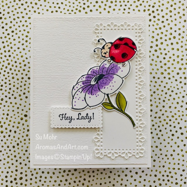 By Su Mohr for FMS; Click READ or VISIT to go to my blog for details! Featuring: Little Ladybug Stamp Set, Ladybugs Dies, Ornate Layers Dies, Subtle Textured embossing Stitched So Sweetly Dies, Stampin' Blends; #littleladybug #ladybugdies #ladybugs #ladybugsoncards #stampinblends #alcoholmarkers #bugsoncards #handmadecards #handcrafted #diy #cardmaking #papercrafting #friendshipcards #cardsketches