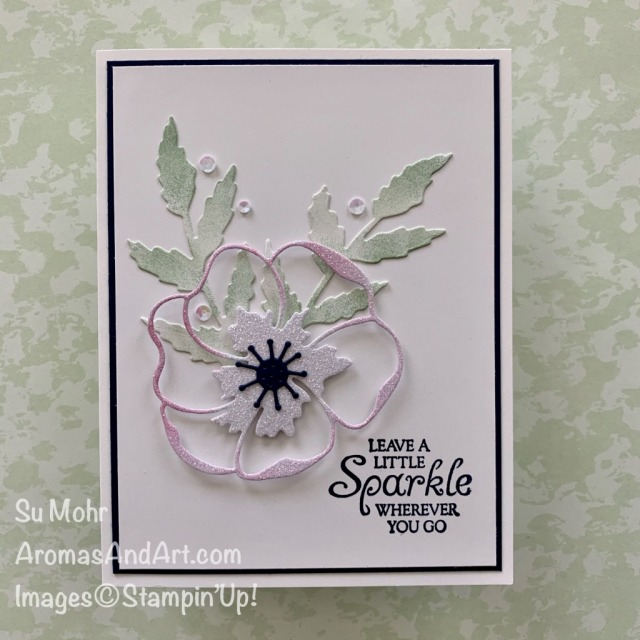 By Su Mohr for PP and GDP; Click READ or VISIT to go to my blog for details! Featuring: Poppy Moments Dies, Leave A Little Sparkle Stamp Set, Sparkle Glimmer Paper; #poppymoments #cas #cascards #clean&simple #leavealittlesparkle #sparkle #glimmerpaper #flowersoncards #poppies #poppiesoncards #handmadecards #handcrafted #diy #cardmaking #papercrafting #cardchallenges #colorcombos #simplecards #