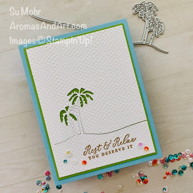 By Su Mohr for Fusion and cts; Click READ or VISIT to go to my blog for details! Featuring: Tasteful Textile embossing, Timeless Tropical Stamp Set, Friendly Silhouettes Dies; #tropicalcards #beachscenes #beachcards #friendlysilhouettes #rest&relax #tastefultextile #handmadecards #handcrafted #diy #cardmaking #papercrafting #CAS #clean&simple #cardchallenges #cardsketches